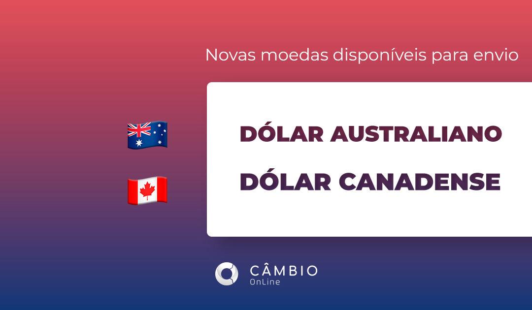 Envie dólar australiano e canadense pela Câmbio Online